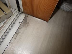 僅かに兆候の見られた浴室入口