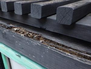 屋外倉庫枠木のシロアリ被害